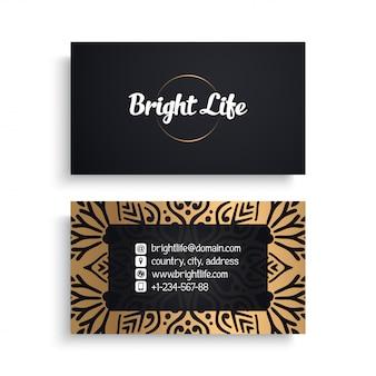 Plantilla de tarjeta corporativa con diseño étnico de lujo, estilo boho