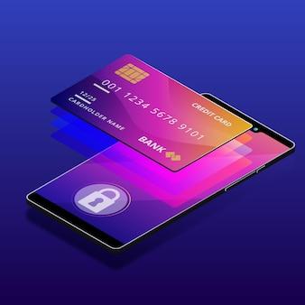 Plantilla de tarjeta de crédito isométrica