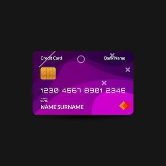Plantilla de tarjeta de crédito púrpura con onda de degradado y texto editable