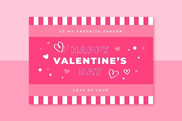 Plantilla de tarjeta de cuadrícula de san valentín
