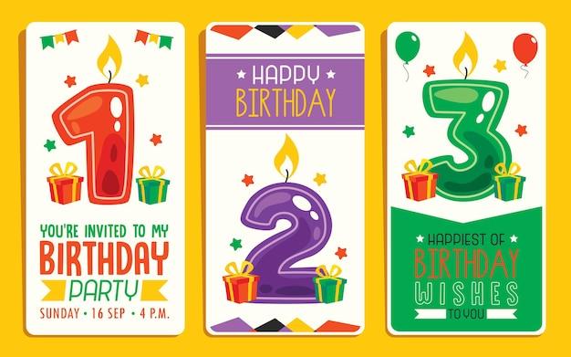 Plantilla de tarjeta de cumpleaños colorida linda