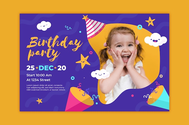 Plantilla de tarjeta de cumpleaños colorida para niños con foto