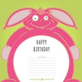 Plantilla de tarjeta de cumpleaños con conejo