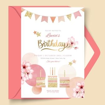 Plantilla de tarjeta de cumpleaños dorada