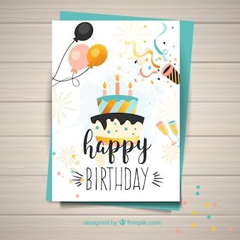 Plantilla para la tarjeta de cumpleaños feliz Vector Premium