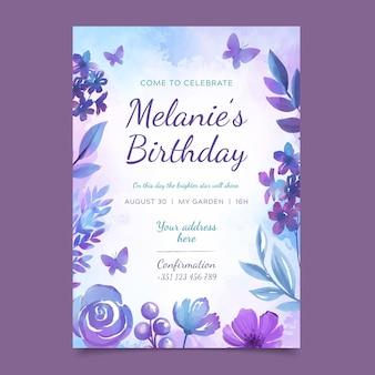 Plantilla de tarjeta de cumpleaños floral colorido