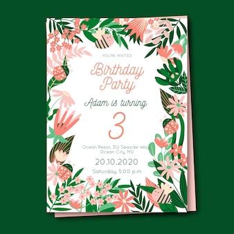 Plantilla de tarjeta de cumpleaños floral para niños