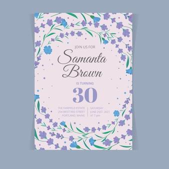 Plantilla de tarjeta de cumpleaños con flores