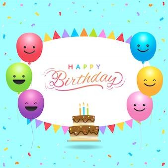 Plantilla de tarjeta de cumpleaños con globos de colores y espacio de copia
