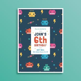 Plantilla de tarjeta de cumpleaños para niños con diseño de robots