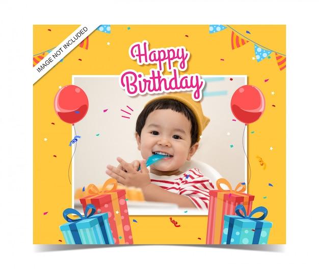 Plantilla de tarjeta de cumpleaños para niños con foto