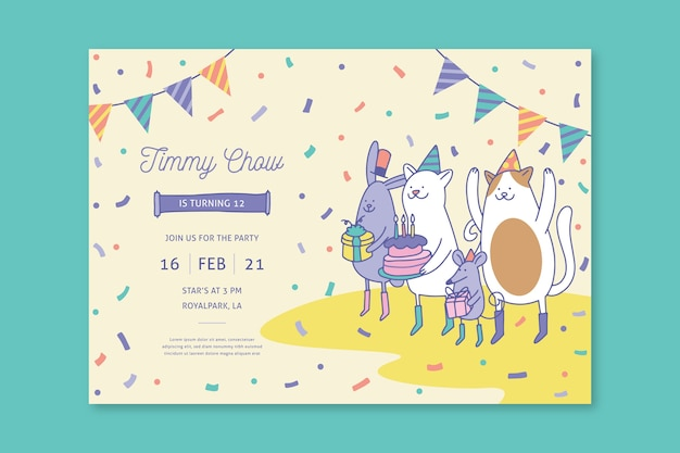 Plantilla de tarjeta de cumpleaños para niños con ilustraciones