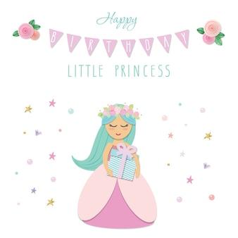 Plantilla de tarjeta de cumpleaños pequeña princesa.