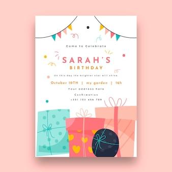 Plantilla de tarjeta de cumpleaños con regalos