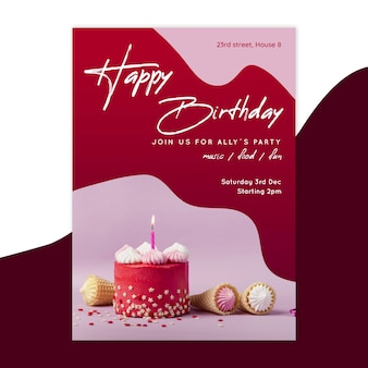 Plantilla de tarjeta de cumpleaños vertical