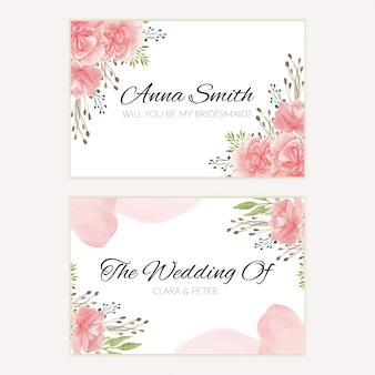 Plantilla de tarjeta de dama de honor de boda floral rosa acuarela
