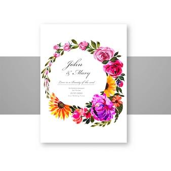 Plantilla de tarjeta decorativa de flores hermosas