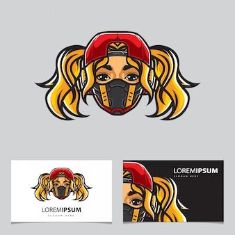Plantilla de tarjeta de deporte electrónico cyberpunk girl head