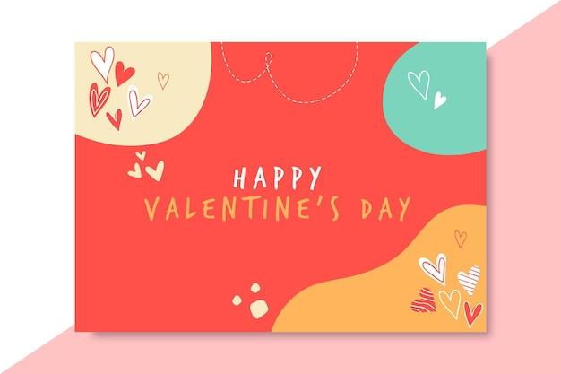 Plantilla de tarjeta de día de san valentín doodle