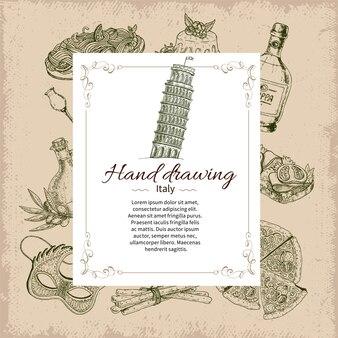 Plantilla de tarjeta dibujada a mano de italia