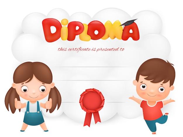 Plantilla de tarjeta de diploma con personajes de dibujos animados de niño y niña
