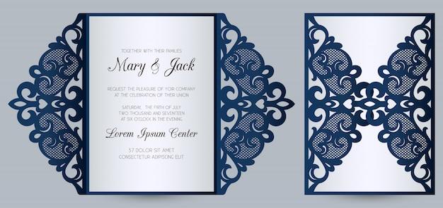 Plantilla de tarjeta de doblez de puerta de invitación de boda cortada con láser. invitación de boda o cubierta de tarjeta de felicitación con adornos abstractos.