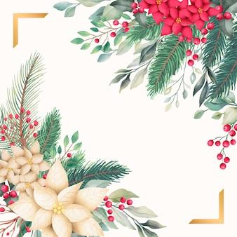 Plantilla de tarjeta dorada de navidad con naturaleza acuarela