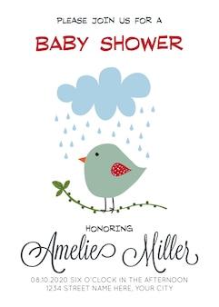 Plantilla de tarjeta de ducha de bebé personalizable delicado con pájaro