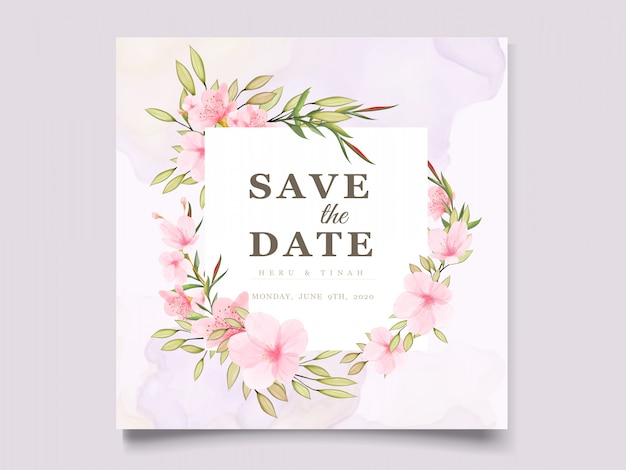 Plantilla de tarjeta elegante acuarela flor de cerezo