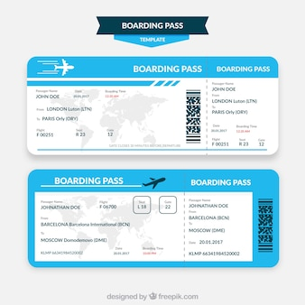 Plantilla de tarjeta de embarque azul y blanca