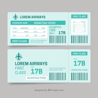Plantilla de tarjeta de embarque plana en tonos verdes