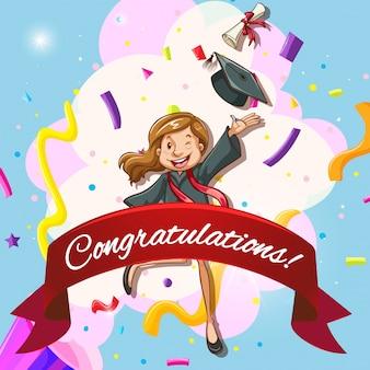 Plantilla de la tarjeta para la enhorabuena con la mujer en el vestido de la graduación