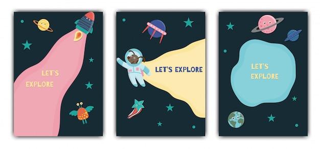 Plantilla de tarjeta de espacio tarjeta con galaxia, estrellas, astronauta, alienígena, planeta, nave espacial para niños. linda ilustración plana