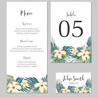Plantilla de tarjeta estacionaria de boda floral tropical