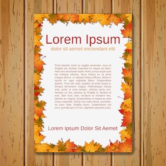 Plantilla de tarjeta de estilo otoño en madera