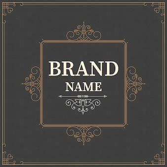 Plantilla de tarjeta de felicitación de adorno vintage. invitaciones de boda retro, publicidad u otro diseño y lugar para el texto. florece el marco.