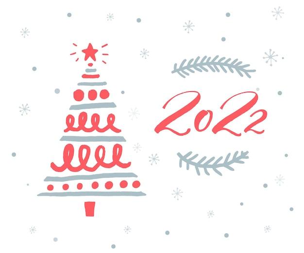 Plantilla de tarjeta de felicitación de año nuevo 2022 con números rojos y árbol de navidad dibujado a mano.