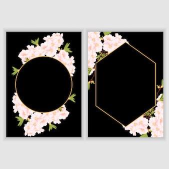 Plantilla de tarjeta de felicitación con borde de flor de cerezo