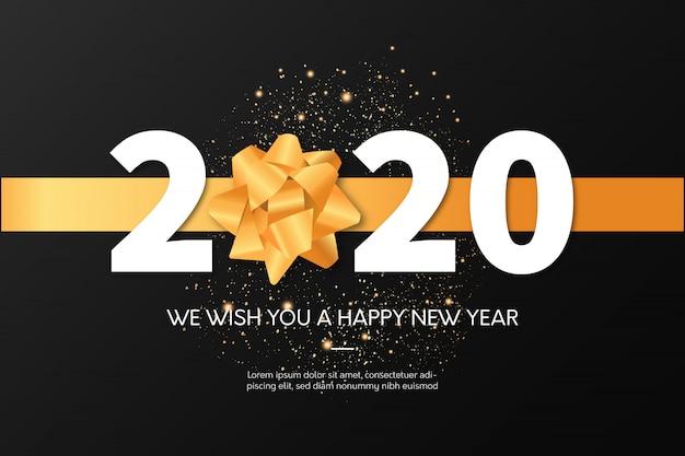 Plantilla de tarjeta de felicitación de celebración de feliz año nuevo 2020