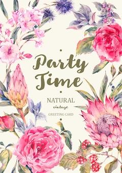 Plantilla de tarjeta de felicitación clásica rosas vintage