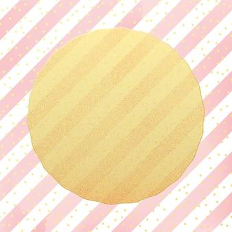 Plantilla de tarjeta de felicitación confeti de puntos de papel de brillo dorado sobre fondo blanco y rosa a rayas.