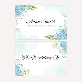 Plantilla de tarjeta de felicitación de dama de honor de flor rosa azul acuarela