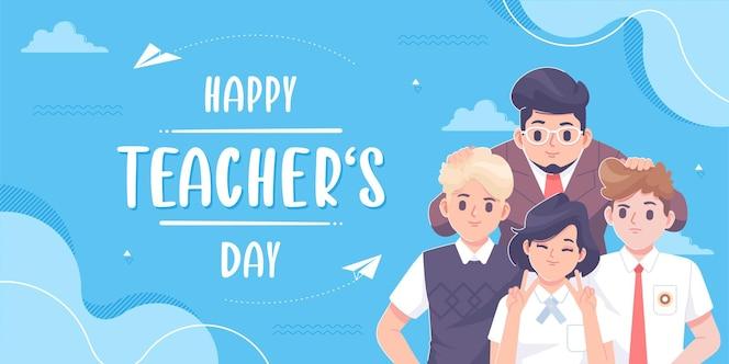 Plantilla de tarjeta de felicitación del día del maestro feliz dibujada a mano