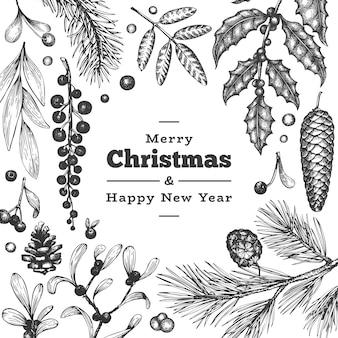 Plantilla de tarjeta de felicitación dibujada a mano de navidad. ilustración de estilo vintage