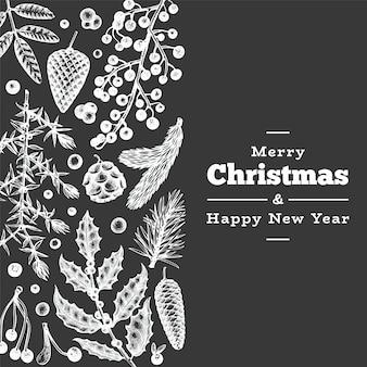 Plantilla de tarjeta de felicitación dibujada a mano de navidad. ilustración de plantas de invierno de estilo vintage en pizarra
