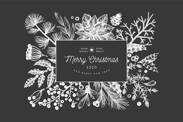 Plantilla de tarjeta de felicitación dibujada a mano de navidad