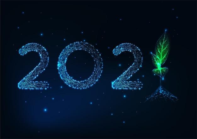 Plantilla de tarjeta de felicitación de feliz año nuevo futurista con brillantes números poligonales bajos y brotes verdes sobre fondo azul oscuro. diseño moderno de malla de alambre.