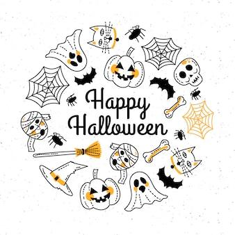 Plantilla de tarjeta de felicitación de feliz halloween dibujada a mano