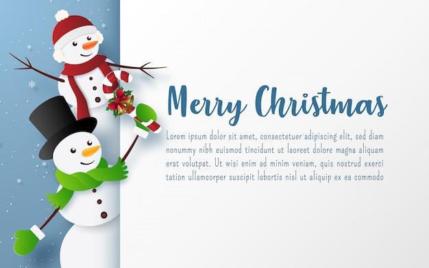 Plantilla de tarjeta de felicitación de feliz navidad con personaje de muñeco de nieve
