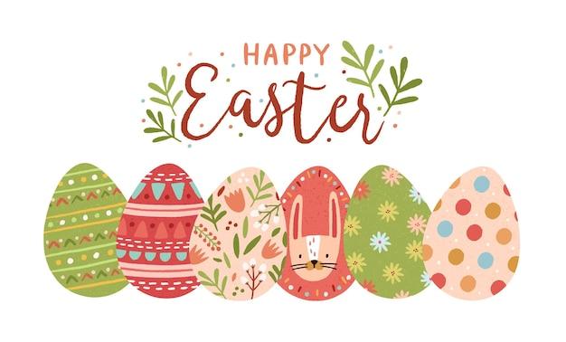 Plantilla de tarjeta de felicitación festiva con feliz pascua escrito a mano con elegante fuente cursiva y huevos decorados en blanco